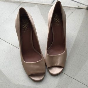 Rose gold beige satin prom shoes